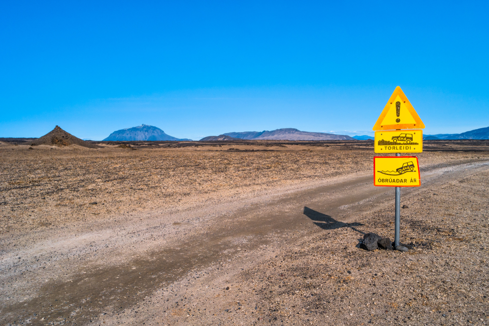Signpost on the road for dangerous area at Askja caldera
