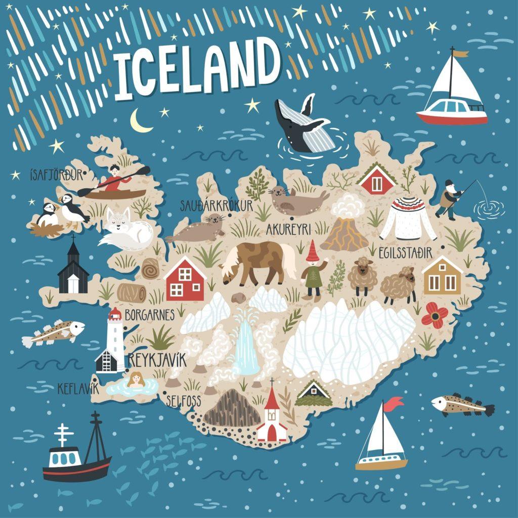 Mapa de Islandia detallando cultura y el carácter islandés