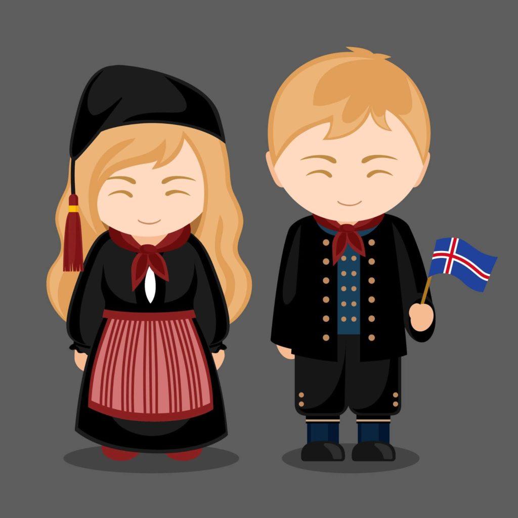 Islandeses en su curioso traje tipico