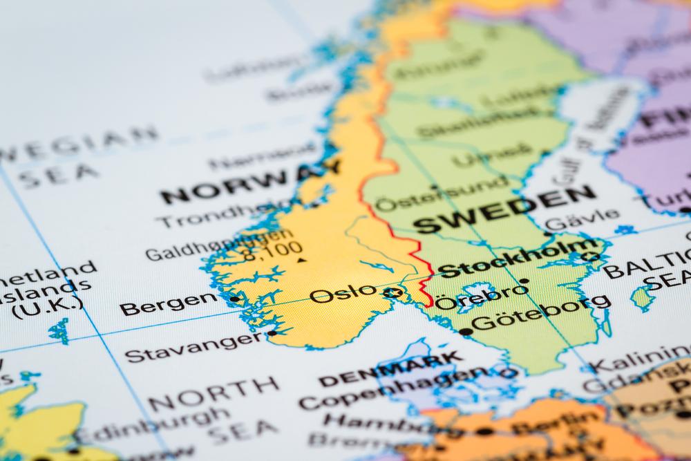 Mapa la península Escandinava
