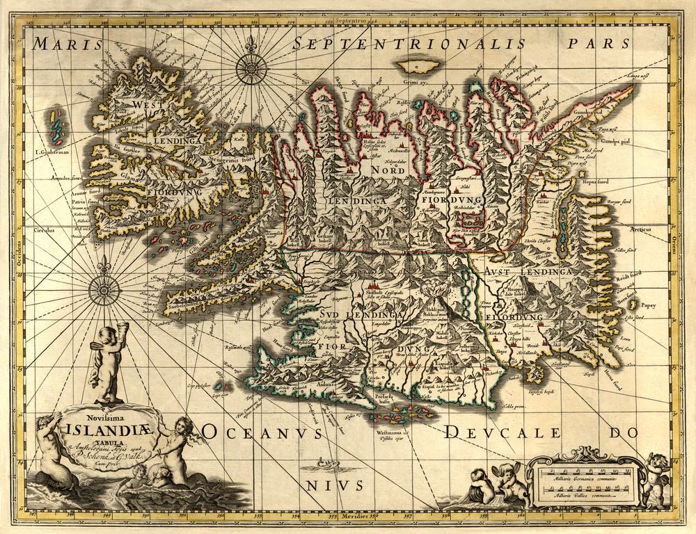 Antiguo mapa de Islandia