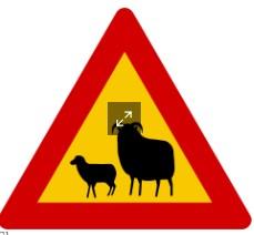 Señal de tráfico de precaución presencia de ovejas
