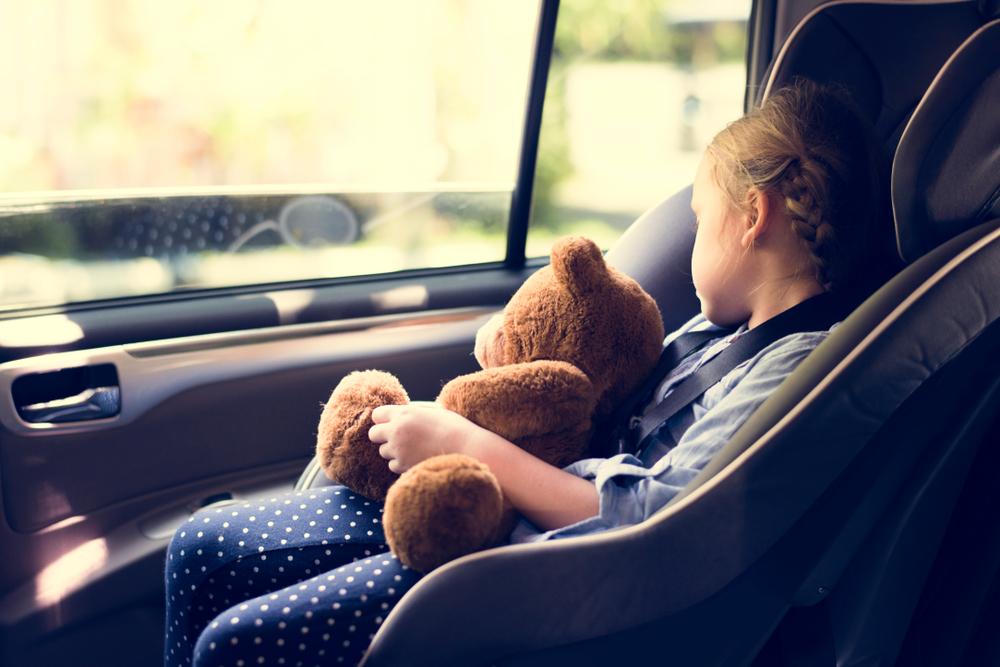 niña en sillita de retencia en coche por Islandia