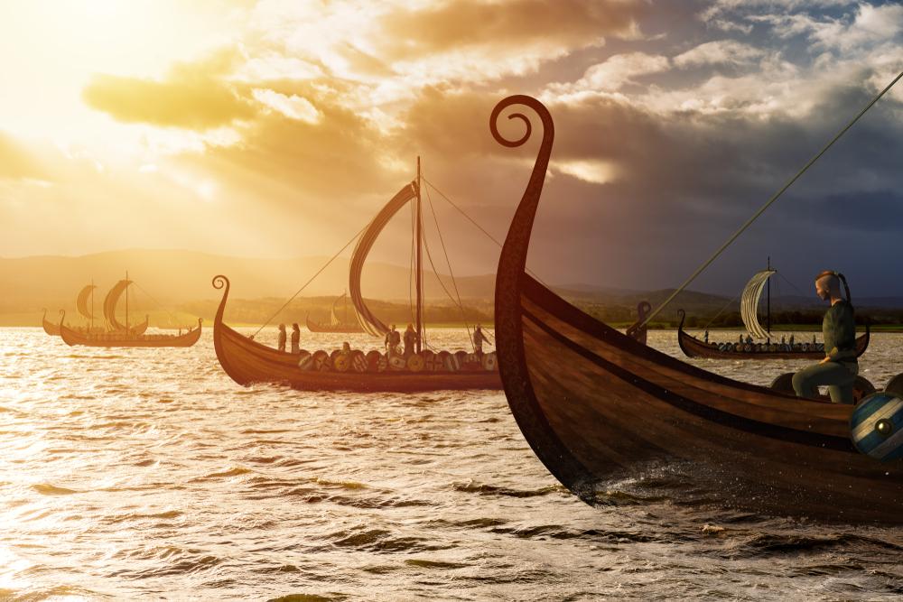 barcos vikingos preparados para la incursión como se narra en las sagas islandesas