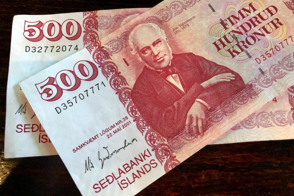 La moneda de Islandia en forma de billete de 500 coronas islandesas