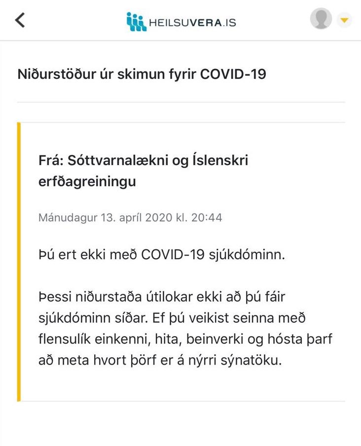 NO covid en Islandia