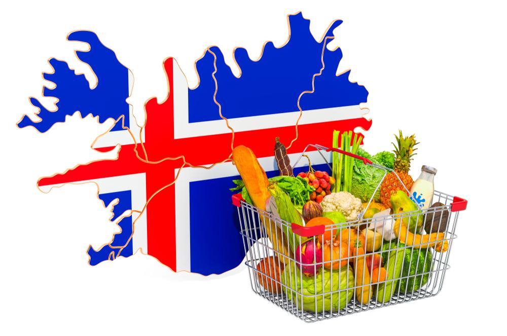 Cesta de la compra frente al mapa de islandia como metáfora del coste de la vida