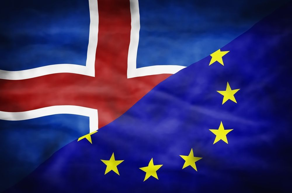 banderas de Islandia y unión europea